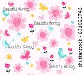spring flowers seamless pattern ...   Shutterstock .eps vector #631023743