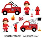fire fighter girl and boy with... | Shutterstock .eps vector #631025867