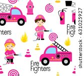girly firefighters cute pink... | Shutterstock .eps vector #631025927