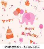 colorful birthday party... | Shutterstock .eps vector #631027313