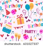 colorful birthday party... | Shutterstock .eps vector #631027337