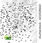 tree with birds. vector | Shutterstock .eps vector #631028663