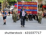 Small photo of BRISBANE, AUSTRALIA - APRIL 25, 2017: Former and present army engineers march in the ANZAC parade.
