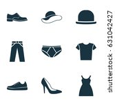 clothes icons set. collection... | Shutterstock .eps vector #631042427