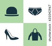 clothes icons set. collection... | Shutterstock .eps vector #631042967
