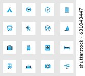 traveling colorful icons set.... | Shutterstock .eps vector #631043447