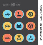 automobile icons set.... | Shutterstock .eps vector #631043507