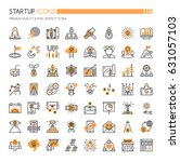 startup element icons   thin... | Shutterstock .eps vector #631057103