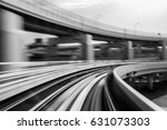 black and white  moving train... | Shutterstock . vector #631073303