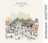 pushkar  rajasthan  india. old... | Shutterstock .eps vector #631077047