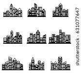 vector black city icons set | Shutterstock .eps vector #631077647