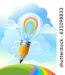a rainbow inside a light bulb... | Shutterstock .eps vector #631098833