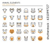animal elements   thin line and ... | Shutterstock .eps vector #631099727