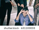 boss  colleague point finger to ... | Shutterstock . vector #631103033