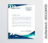 letterhead design with blue... | Shutterstock .eps vector #631118453