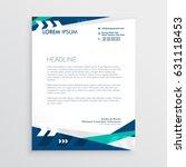 letterhead design with blue... | Shutterstock .eps vector #631118453