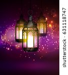 intricate arabic lamps with... | Shutterstock .eps vector #631118747