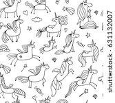 magic unicorns  seamless... | Shutterstock .eps vector #631132007