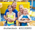cute young family on a cruise... | Shutterstock . vector #631132853