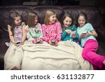 group of little girls playing... | Shutterstock . vector #631132877