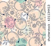 seamless vector pattern with... | Shutterstock .eps vector #631134413