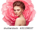 beautiful woman on the... | Shutterstock . vector #631138037