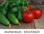tomatoes and cucumbers with... | Shutterstock . vector #631143623