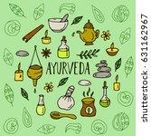 hand drawn round ayurveda...   Shutterstock .eps vector #631162967