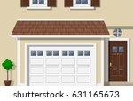 garage door house exterior... | Shutterstock .eps vector #631165673