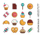 Sweets Candy Cakes Icons Set....