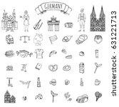 hand drawn doodle set of... | Shutterstock .eps vector #631221713