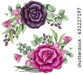Stock photo set of watercolor bouquets with bright pink and black roses 631227197
