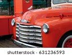 vintage red car  in universal... | Shutterstock . vector #631236593