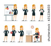 flat young smiley businesswoman ... | Shutterstock .eps vector #631236833