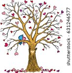 Love Tree With Birds And Hearts