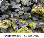 Stacked Timber Old Logs With...