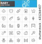 baby line icons set  outline...