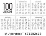 vector set of thin line icons... | Shutterstock .eps vector #631282613