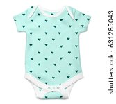 baby onesie with hearts pattern ... | Shutterstock . vector #631285043