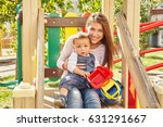 young mother playing with her... | Shutterstock . vector #631291667