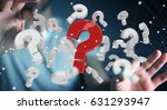 Small photo of Businessman on blurred background using 3D rendering question marks