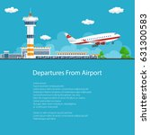 poster airplane takes off from... | Shutterstock .eps vector #631300583