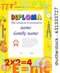 certificates school kids... | Shutterstock .eps vector #631333727