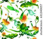 watercolor floral seamless... | Shutterstock . vector #631340057