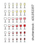 rows of wine glasses from empty ... | Shutterstock .eps vector #631352357