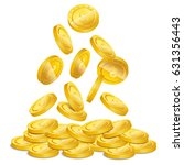 realistic gold coin stacks.... | Shutterstock .eps vector #631356443