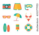 summer icon on beach flat... | Shutterstock .eps vector #631377953