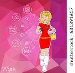 women sitting on mobile app... | Shutterstock .eps vector #631391657