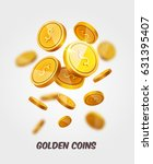 vector gold coins flying... | Shutterstock .eps vector #631395407