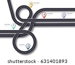 road trip and journey route. 3d ... | Shutterstock . vector #631401893